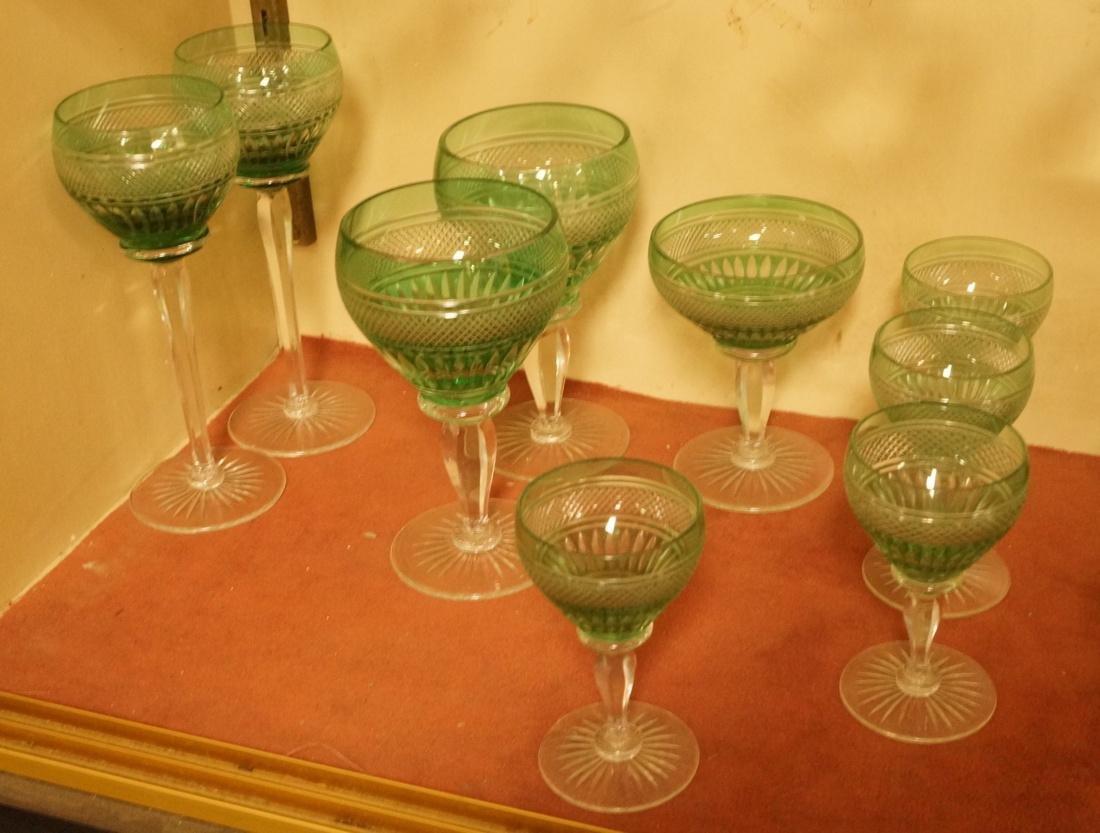23 VAL ST LAMBERT Emerald Green Stemware Glasses. - 6