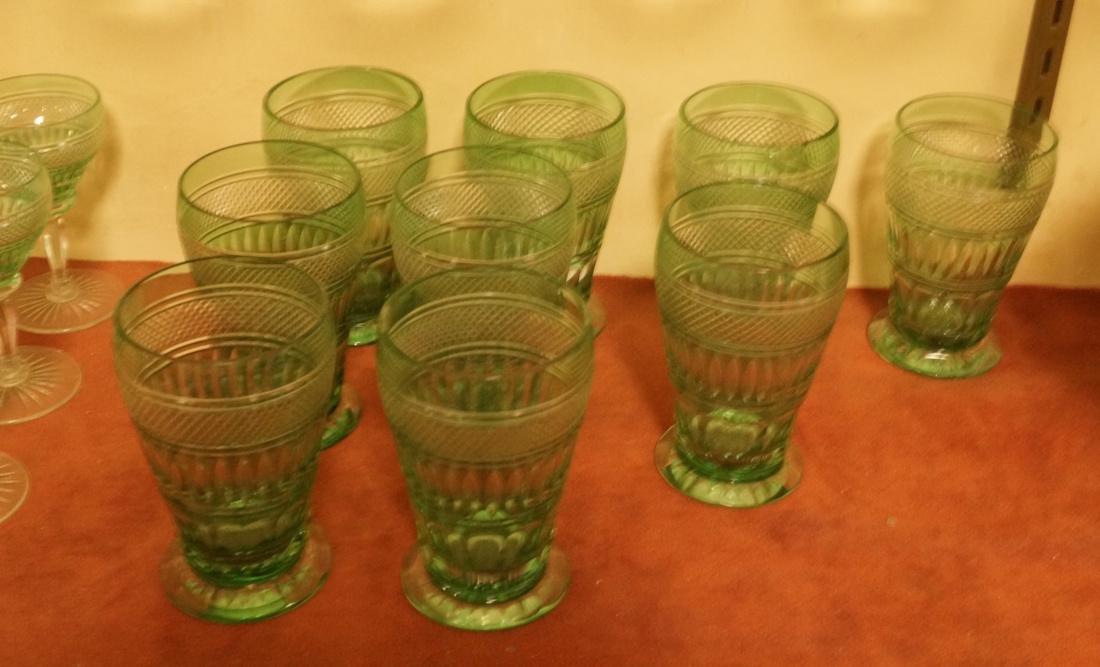 23 VAL ST LAMBERT Emerald Green Stemware Glasses. - 7