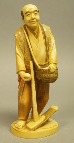 Signed Carved Asian Figure. Japanese Rice Farmer