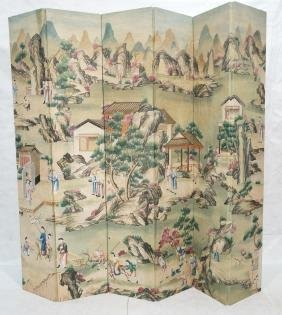 Six Panel Hand Painted Asian Screen Room Divider.