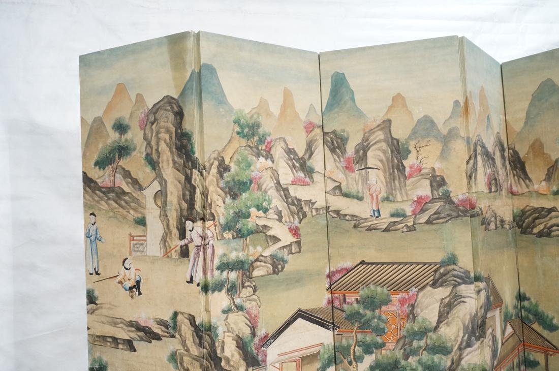 Six Panel Hand Painted Asian Screen Room Divider. - 2