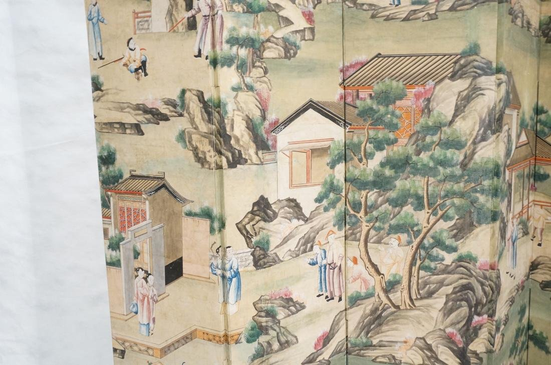 Six Panel Hand Painted Asian Screen Room Divider. - 3