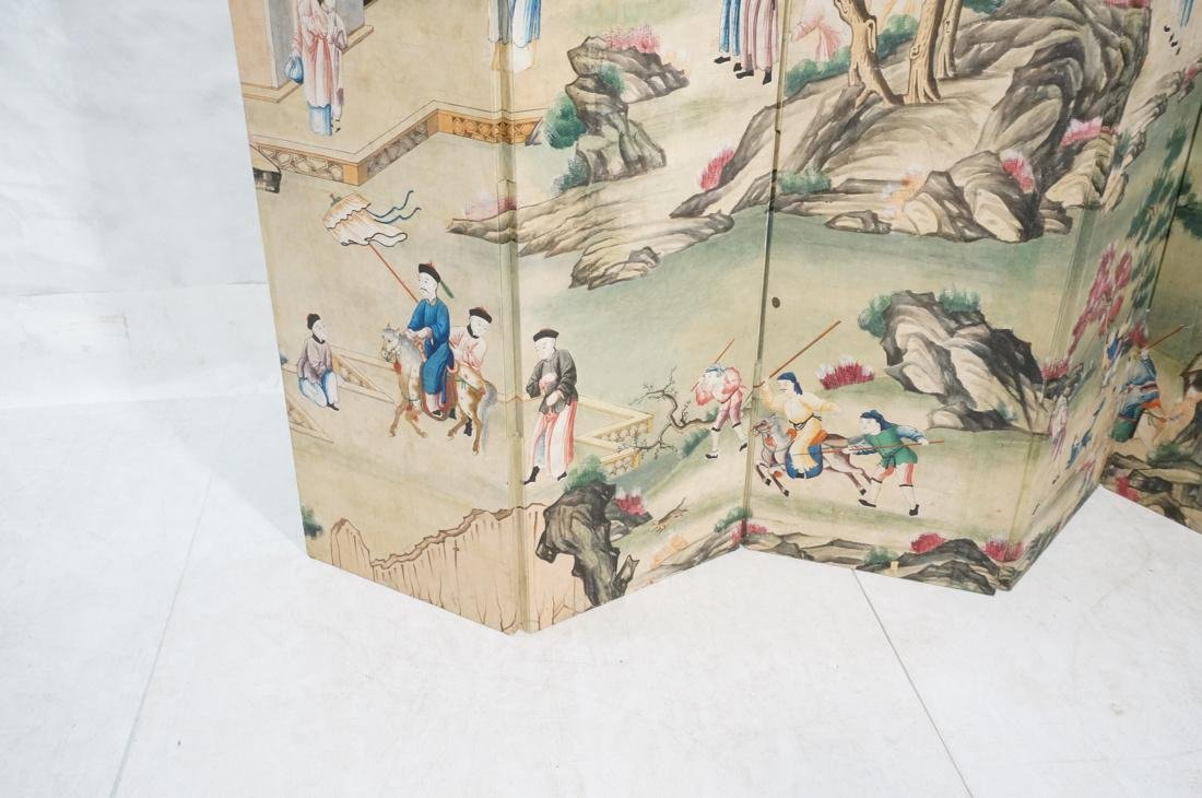 Six Panel Hand Painted Asian Screen Room Divider. - 4