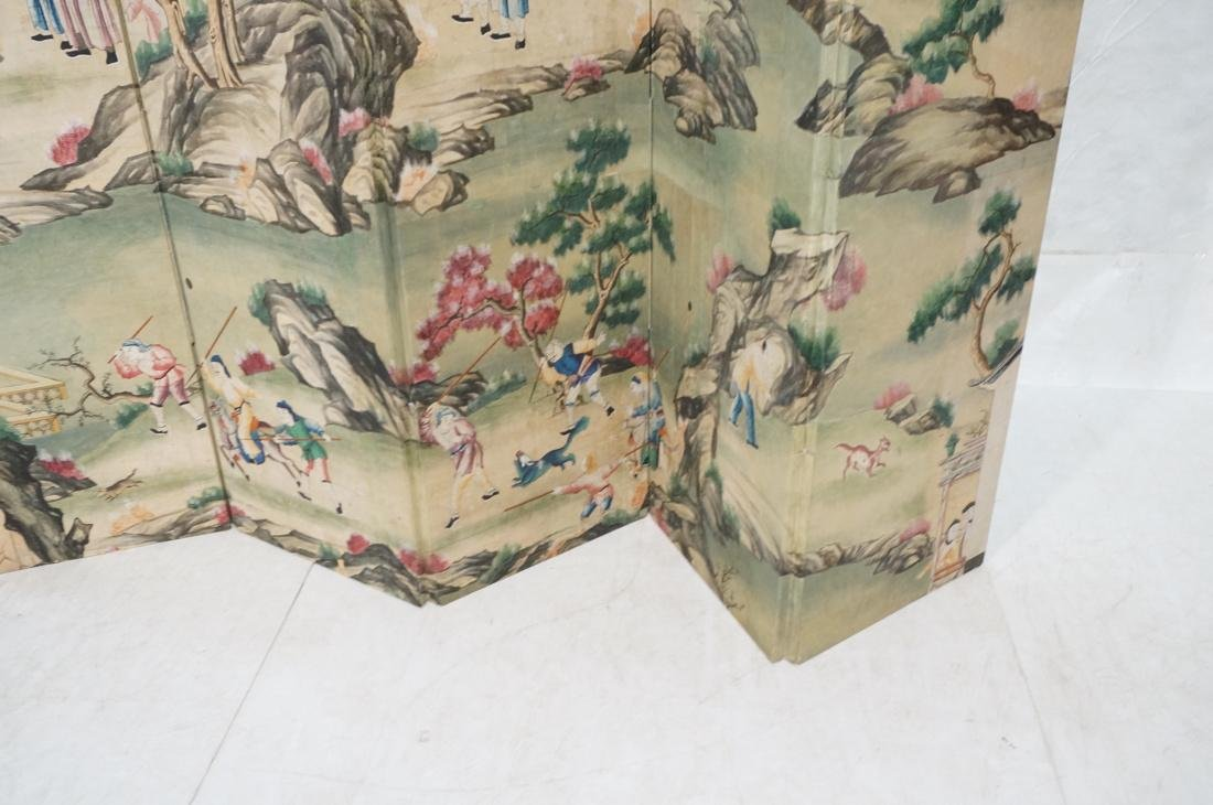 Six Panel Hand Painted Asian Screen Room Divider. - 5