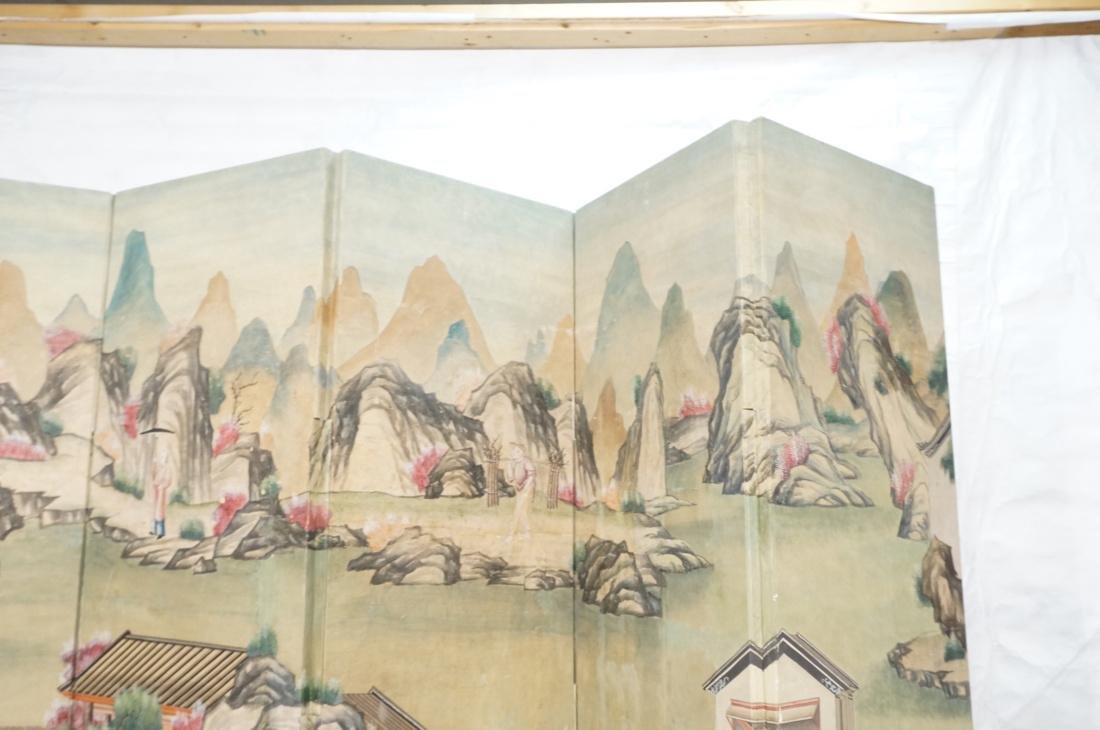Six Panel Hand Painted Asian Screen Room Divider. - 7