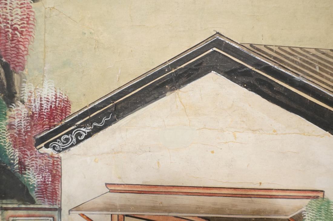 Six Panel Hand Painted Asian Screen Room Divider. - 8