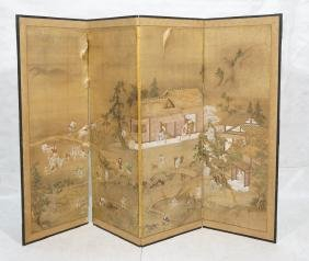 Four Panel Hand Painted Asian Screen Room Divider