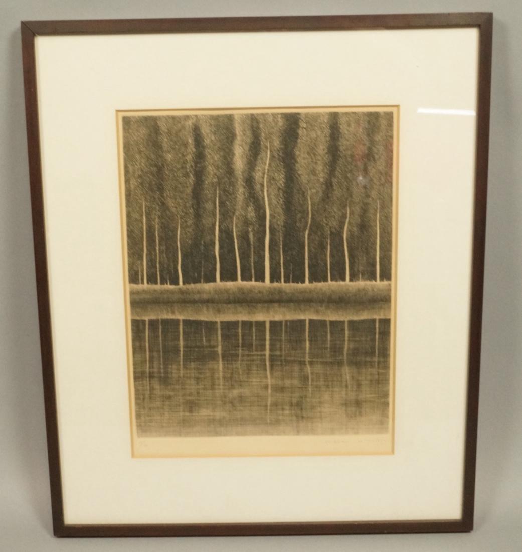 """SHIGERU KIMURA Etching. """"A White Tree in a Landsc"""