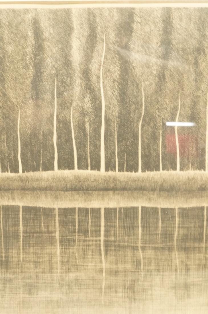 """SHIGERU KIMURA Etching. """"A White Tree in a Landsc - 2"""