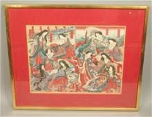 Signed Double Japanese Wood Block Prints Framed