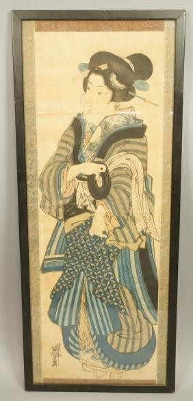 Tall Two part Japanese Wood Block Print. Geisha.