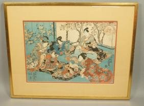 Two part Japanese Woodblock Print. Japanese Geish