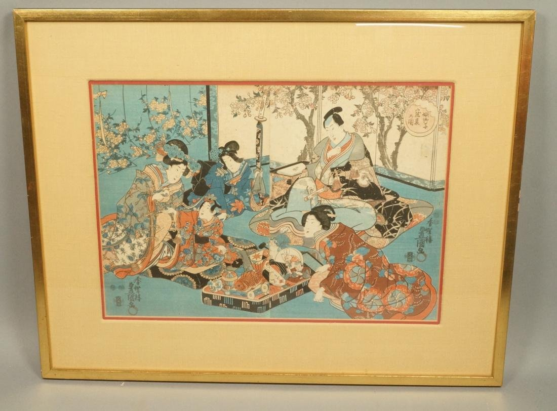 Two part Japanese Woodblock Print. Japanese Geish