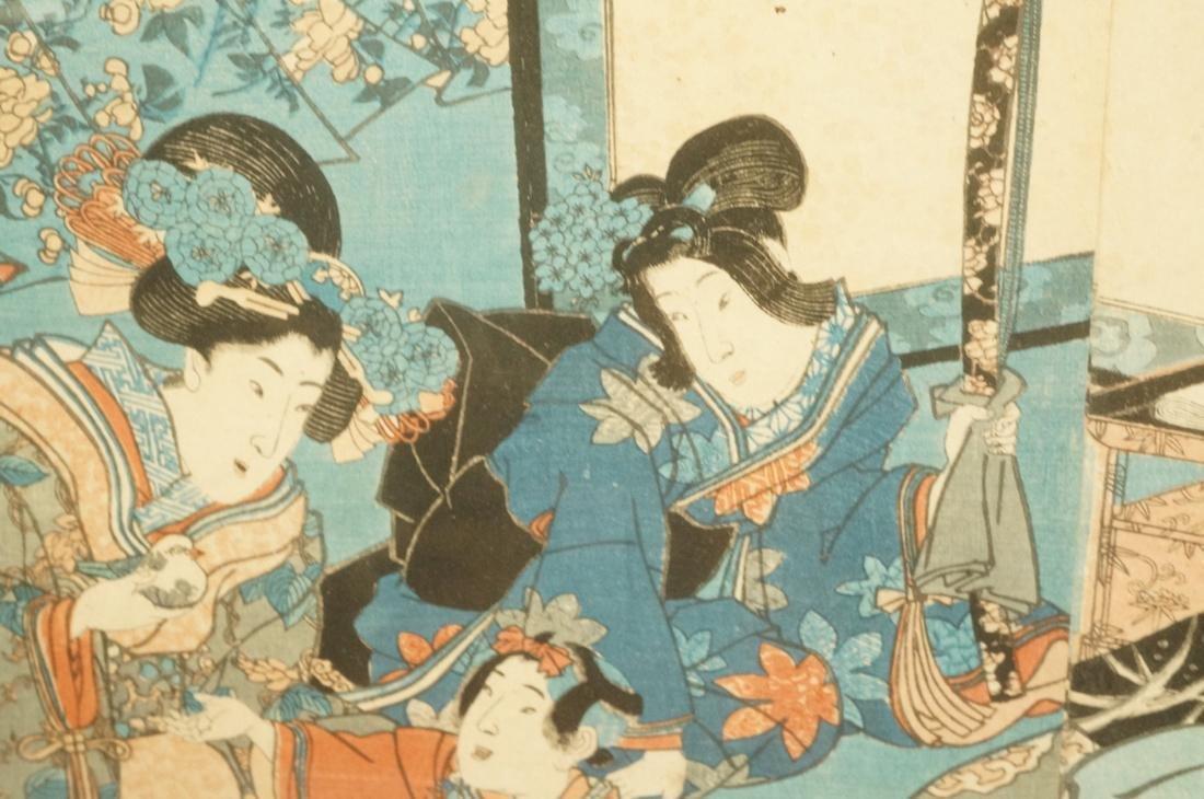 Two part Japanese Woodblock Print. Japanese Geish - 5