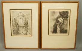 "Two MARC CHAGALL Etching Prints. 1) ""The Israelit"
