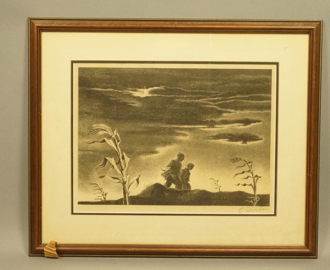 "GEORGES SCHREIBER Original Lithograph. ""Twilight"" - 4"
