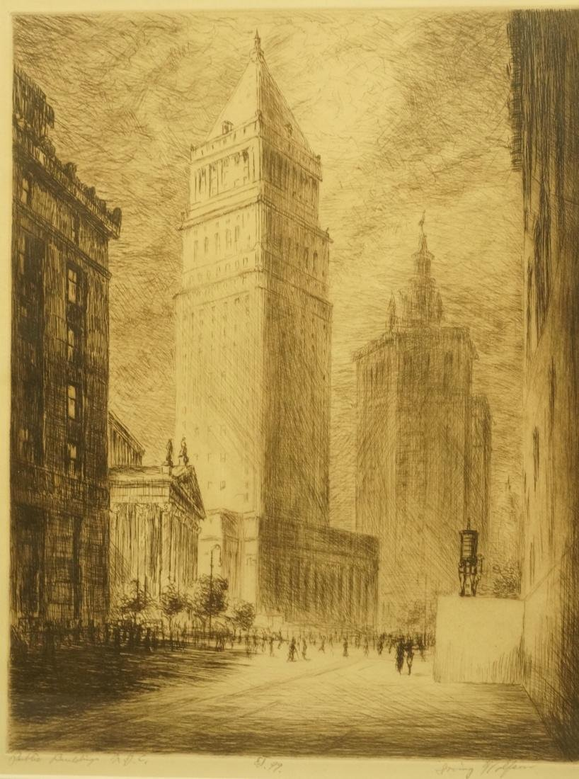 """IRVING WOLFSON Etching  Print. """"Public Buildings"""