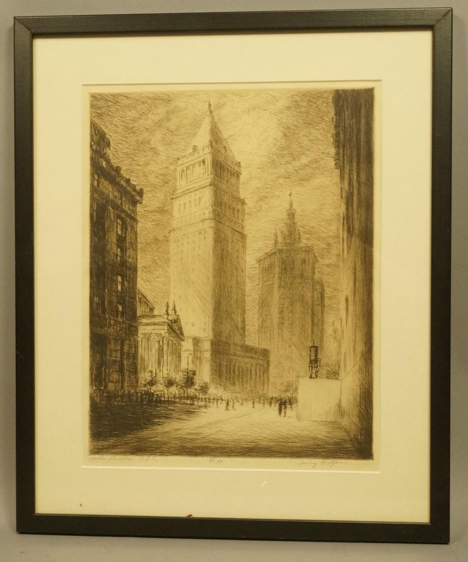 """IRVING WOLFSON Etching  Print. """"Public Buildings - 2"""