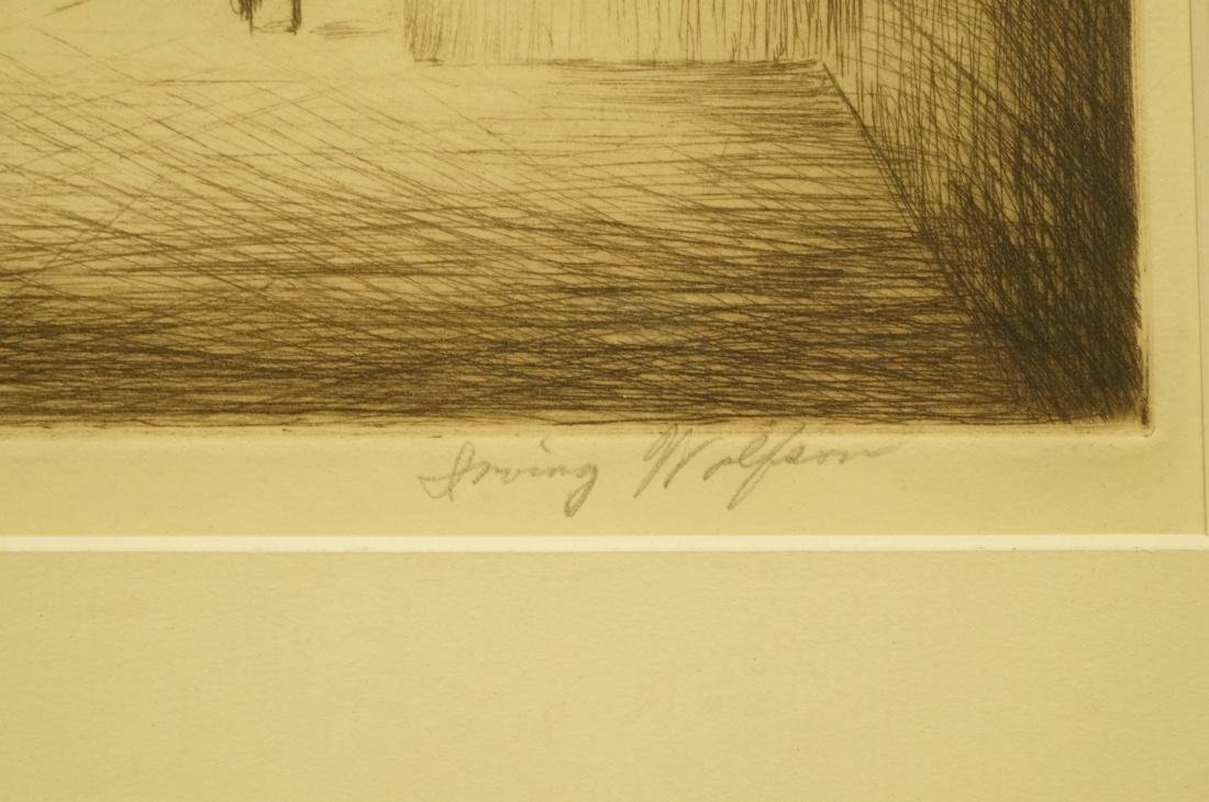 """IRVING WOLFSON Etching  Print. """"Public Buildings - 3"""