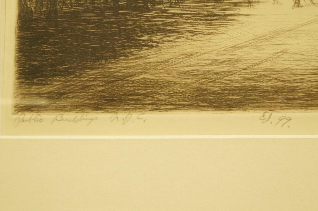 """IRVING WOLFSON Etching  Print. """"Public Buildings - 4"""