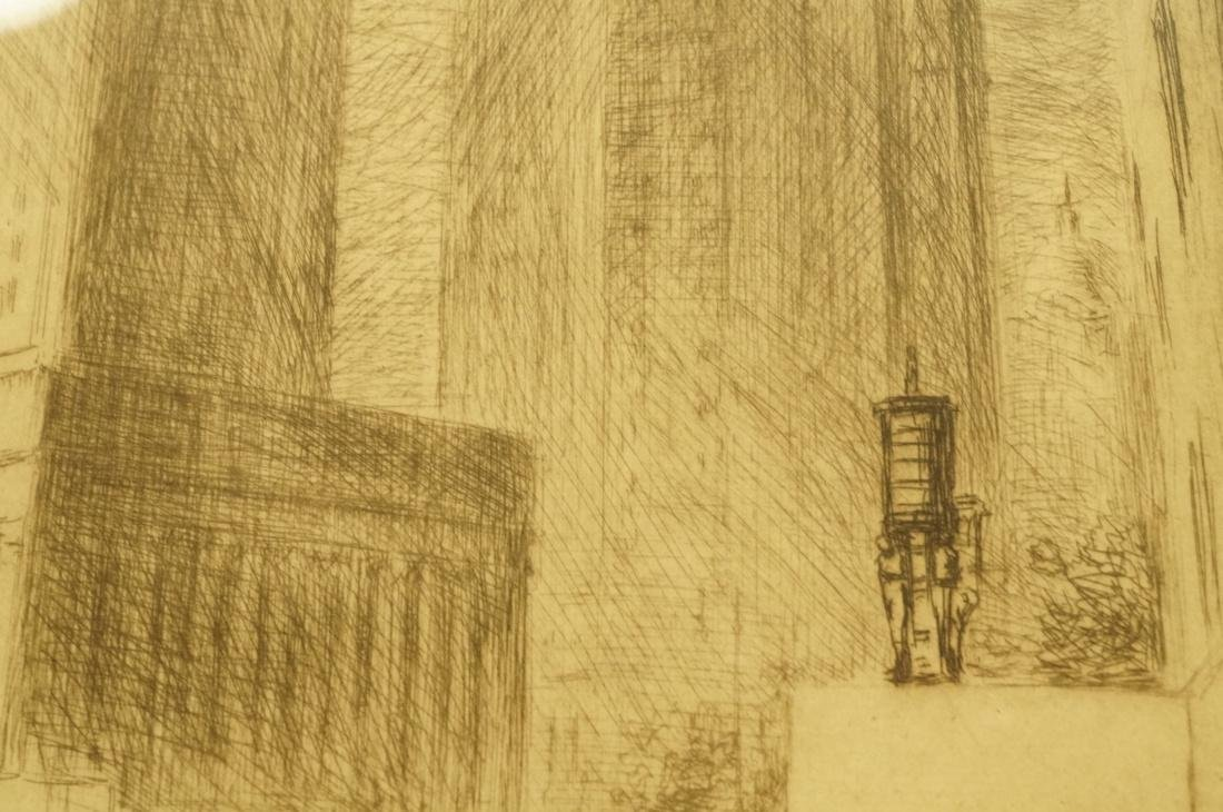 """IRVING WOLFSON Etching  Print. """"Public Buildings - 5"""
