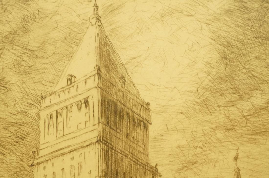 """IRVING WOLFSON Etching  Print. """"Public Buildings - 6"""