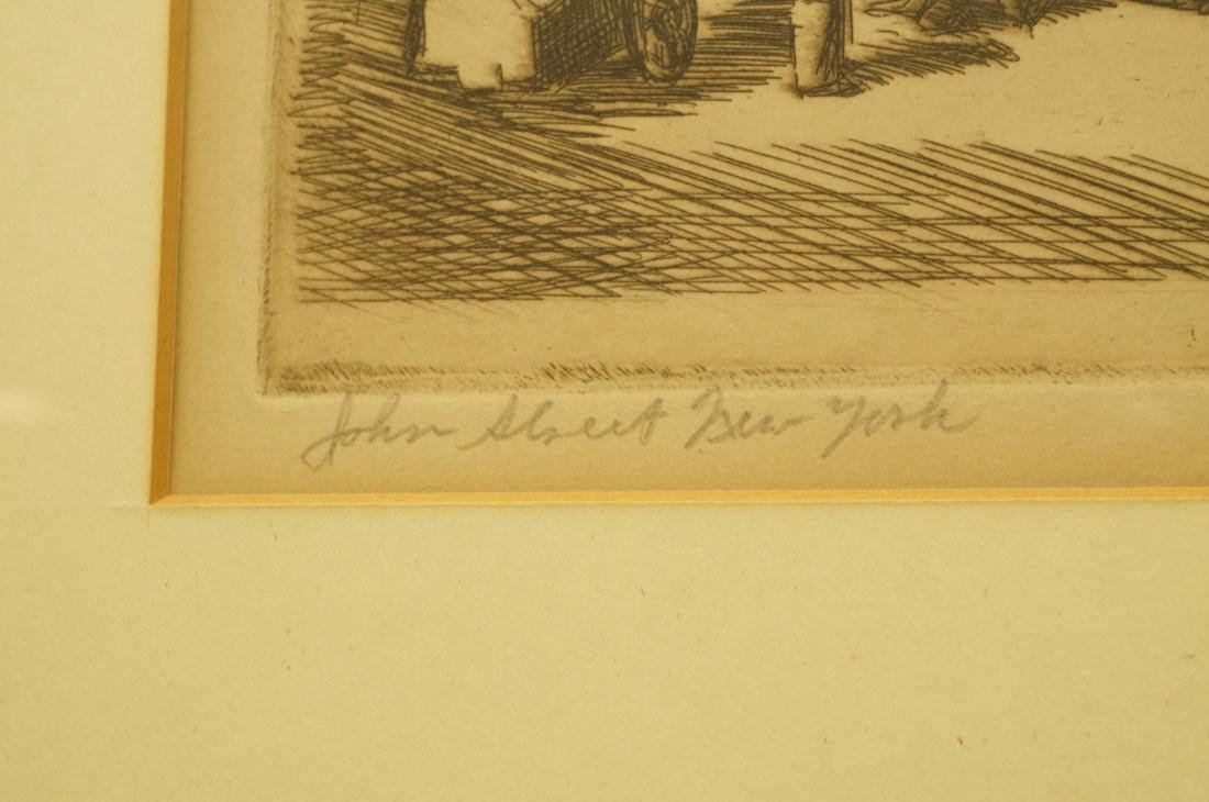 "IRVING WOLFSON Etching  Print. ""John Street New Y - 4"