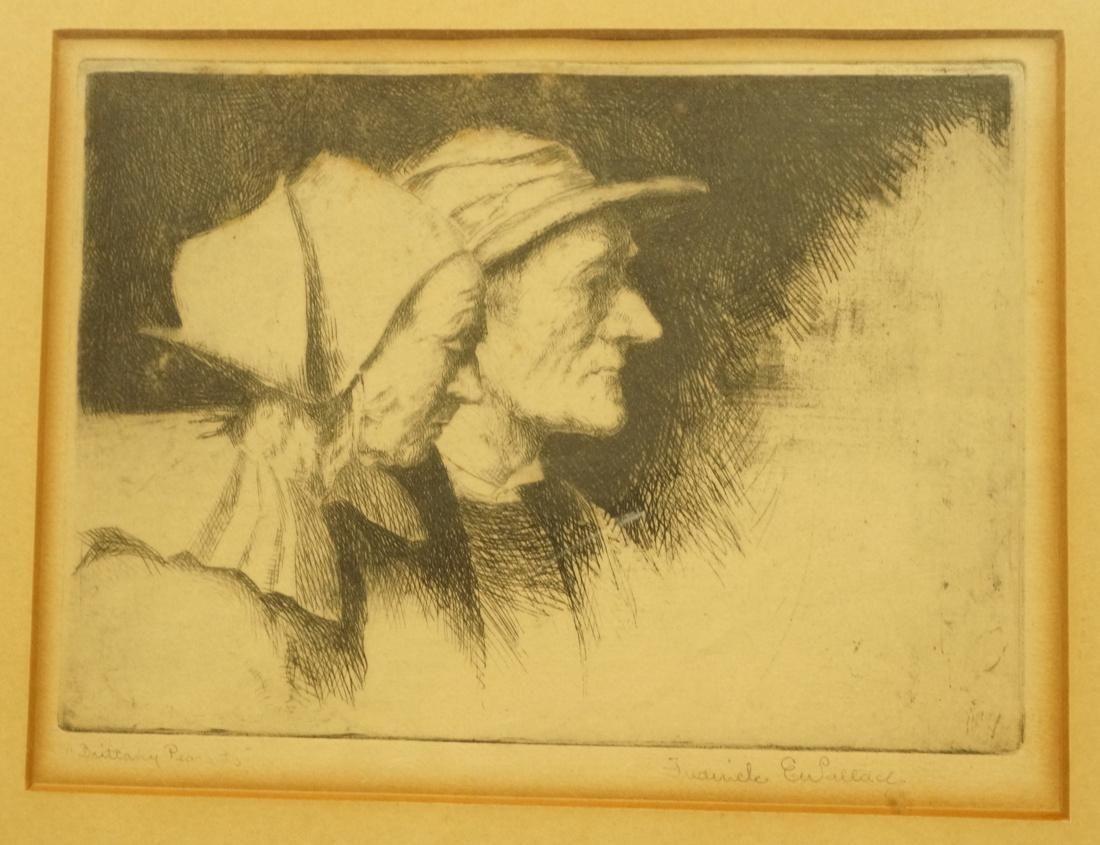 FREDERICK E WALLACE Etching Portrait Print. Two P