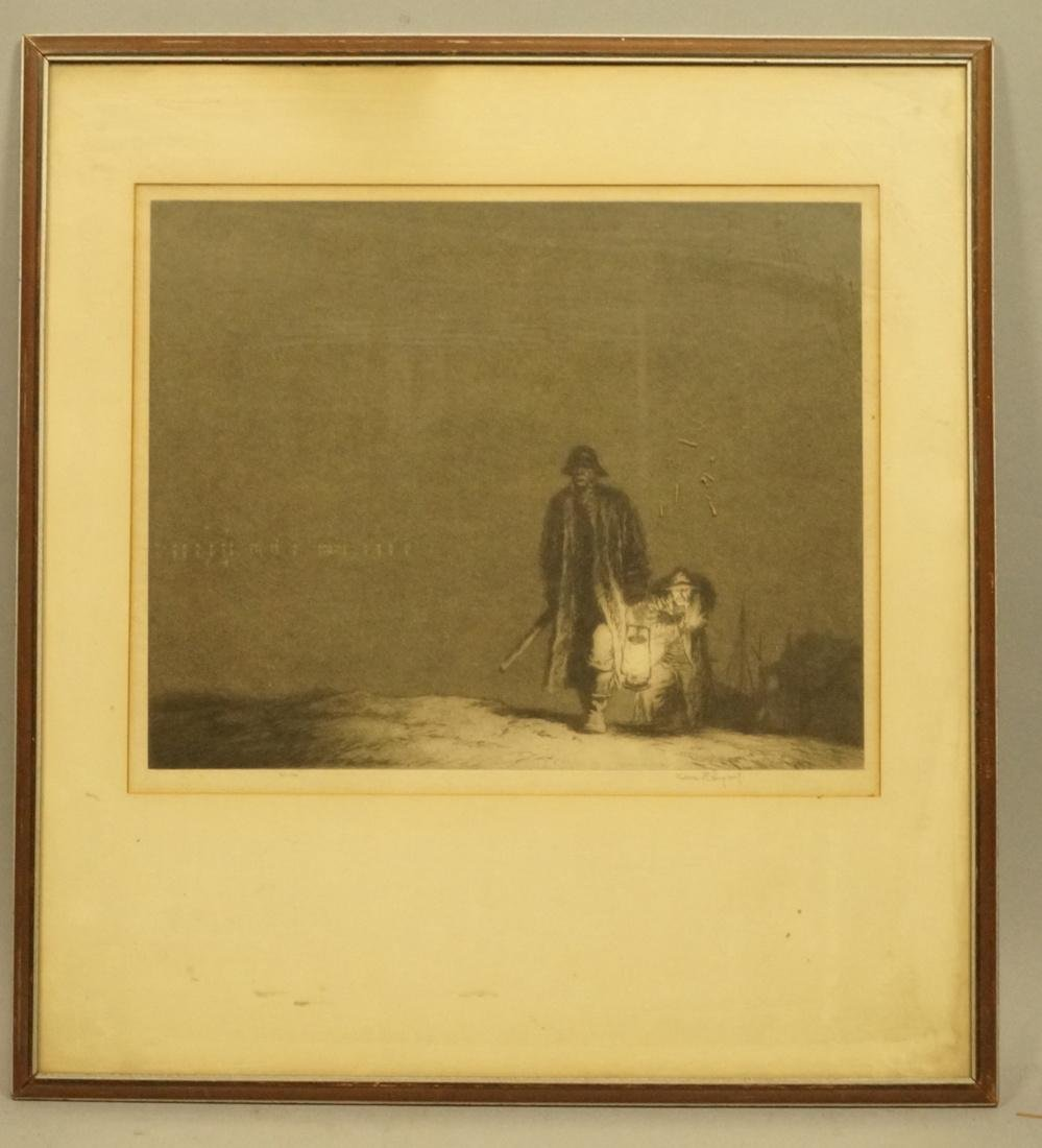 KERR EBY (1890-1946) Engraving Print. Two fishermen - 2