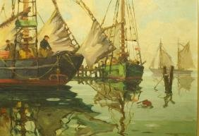 ROBERT CONNAVALE OIl Painting. Ships in Harbour.