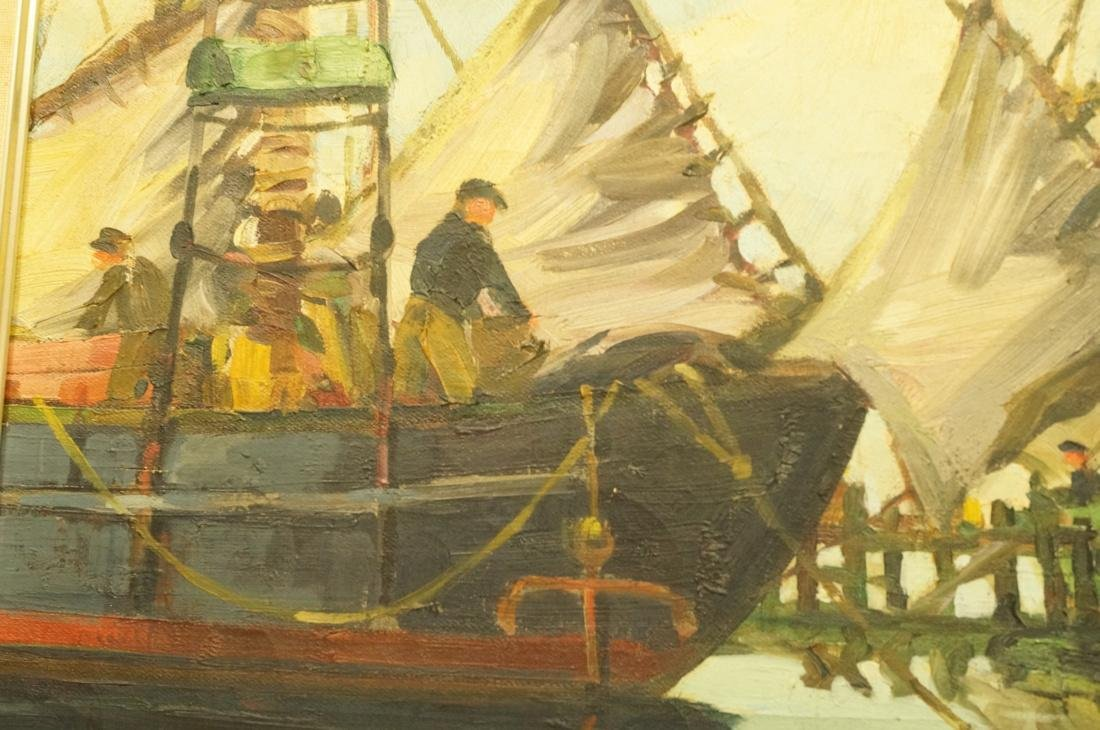 ROBERT CONNAVALE OIl Painting. Ships in Harbour. - 4