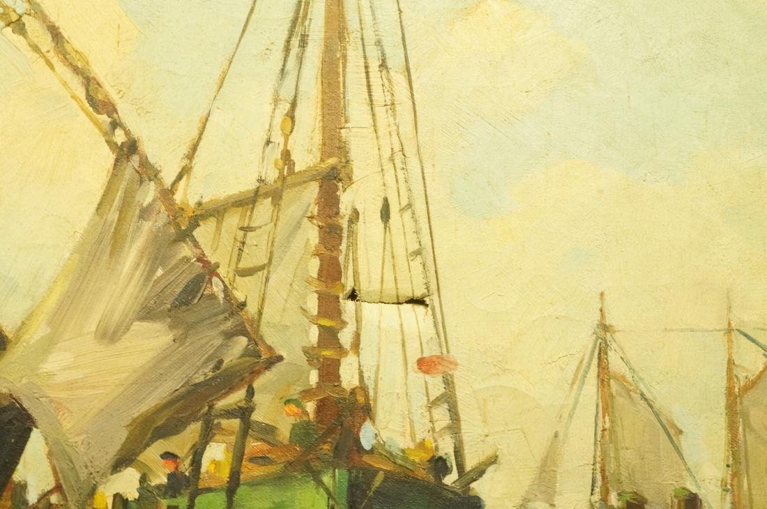 ROBERT CONNAVALE OIl Painting. Ships in Harbour. - 6