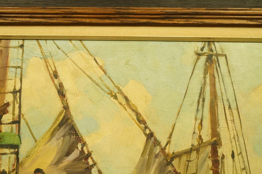 ROBERT CONNAVALE OIl Painting. Ships in Harbour. - 9