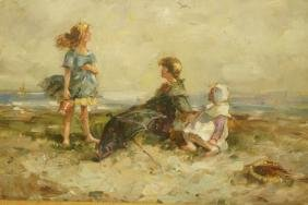 Oil Painting of three young children on Beach. No