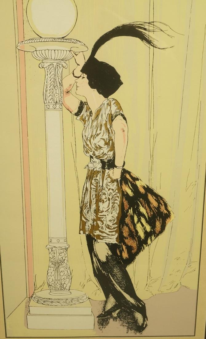 Colorful Print of Flapper in gilt dress. Signed i