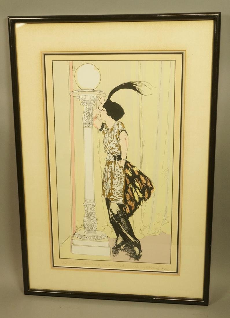 Colorful Print of Flapper in gilt dress. Signed i - 2