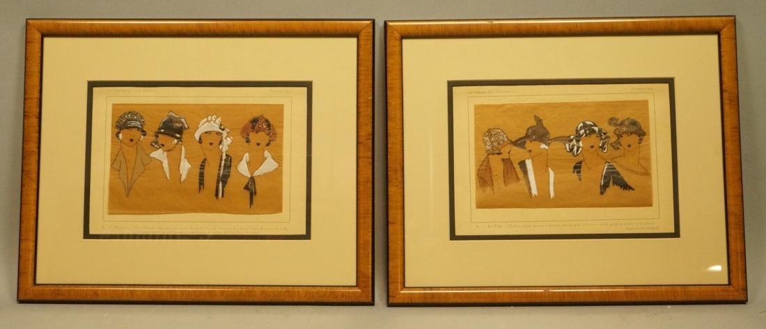 """Pr Chapeau Hat French Hand Colored Drawings. """"Les"""