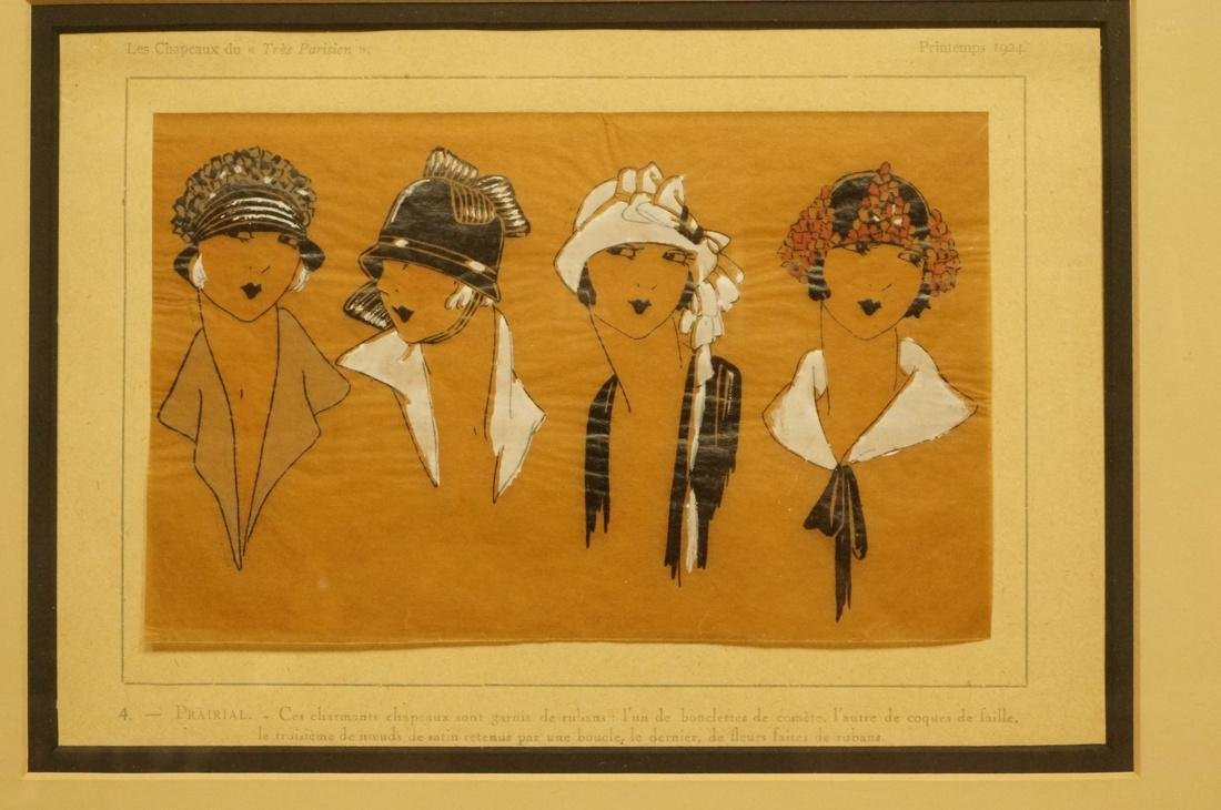 """Pr Chapeau Hat French Hand Colored Drawings. """"Les - 2"""