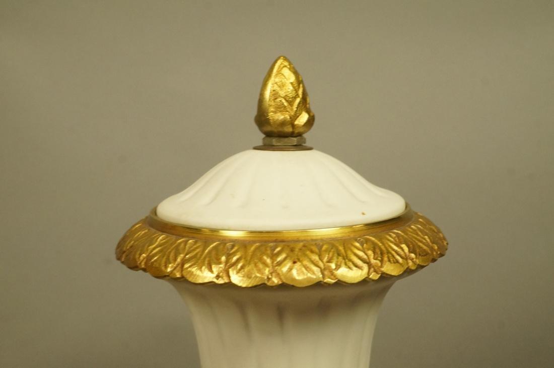 Pr White Porcelain Bisque Urns. Gilt metal mounts - 2