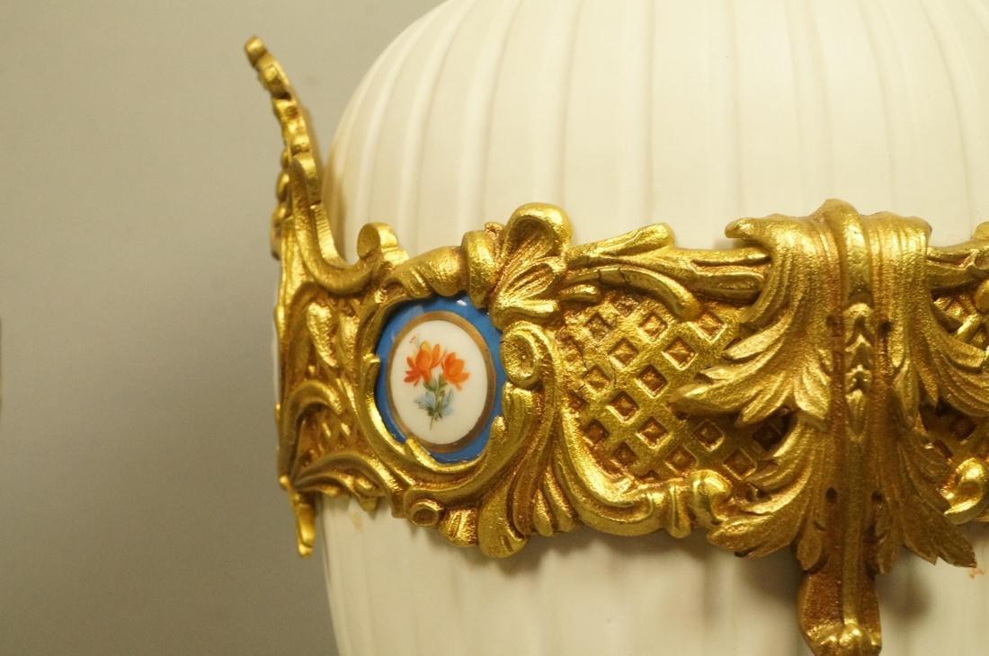 Pr White Porcelain Bisque Urns. Gilt metal mounts - 4