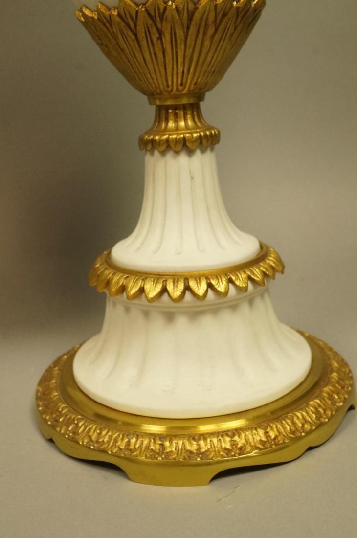 Pr White Porcelain Bisque Urns. Gilt metal mounts - 5