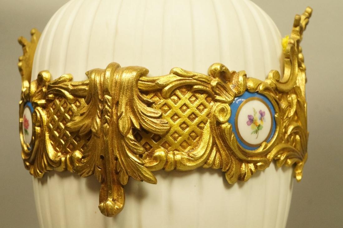 Pr White Porcelain Bisque Urns. Gilt metal mounts - 6