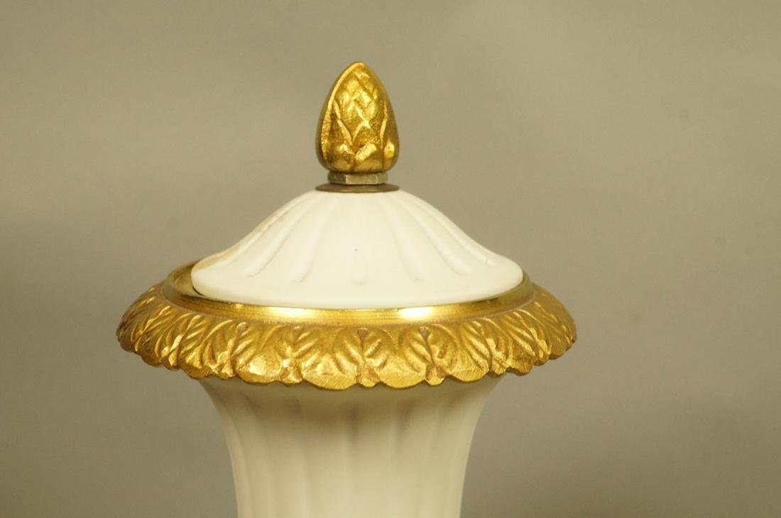 Pr White Porcelain Bisque Urns. Gilt metal mounts - 7