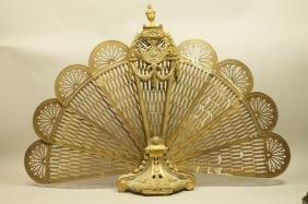 "Antique Brass Fan form Fireplace Screen. Brass ""p"