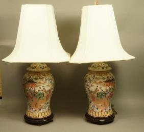 Pr Chinese Export Ginger Jar Table Lamps. Chinese