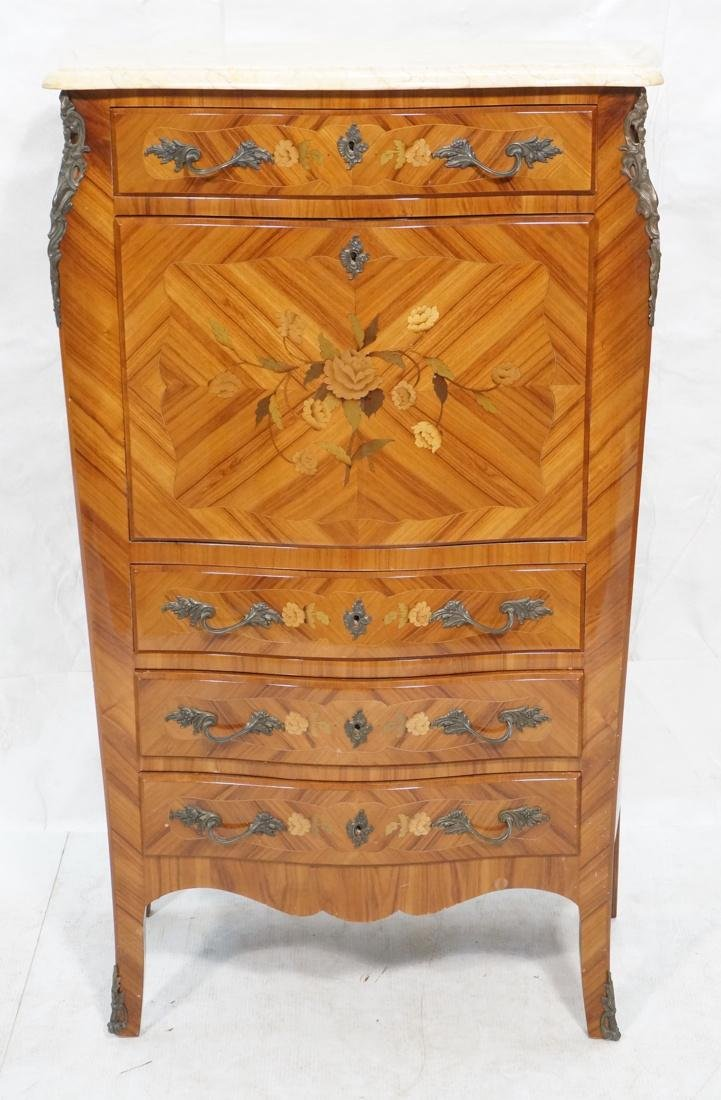 Tall French style Floral Inlay Drop Desk Abatante