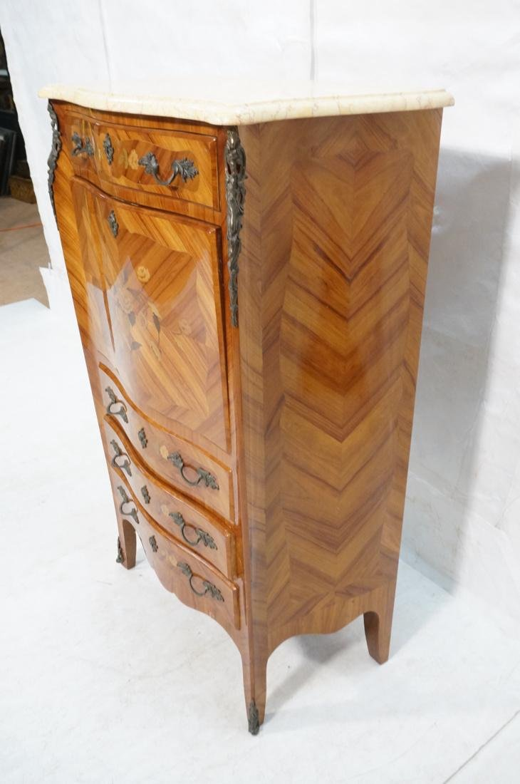 Tall French style Floral Inlay Drop Desk Abatante - 2