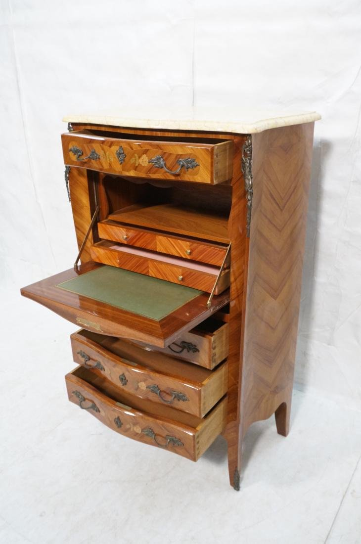 Tall French style Floral Inlay Drop Desk Abatante - 4