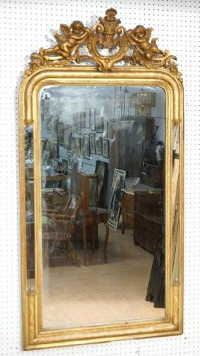 Large Antiqued Gold Finish Wall Mirror. Sculptura