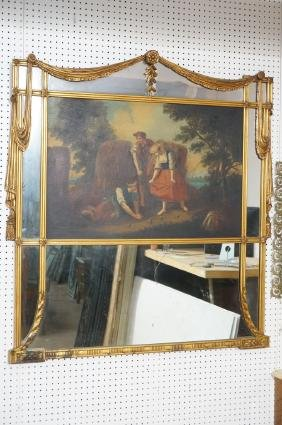 Decorative Vintage Wall Mirror. Large Genre Scene